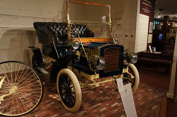 In the Dean Kruse Gallery is a 1904 Auburn which is the oldest Auburn known to exist. The first Auburns were introduced at the Chicago Auto Show in 1903. This 1904 model is one of only 50 produced by Auburn that year. Auburn was gaining a reputation for being a builder of quality motorcars. The chain drive car produced about 10 horsepower.