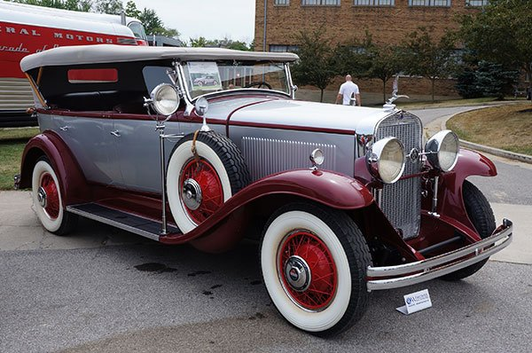 "A 1930 LaSalle All-Weather Phaeton was one of the featured cars at the Worldwide Auction on Saturday evening. It is a CCCA full restoration. The brochure says ""Perfect Open Air Touring Car."""