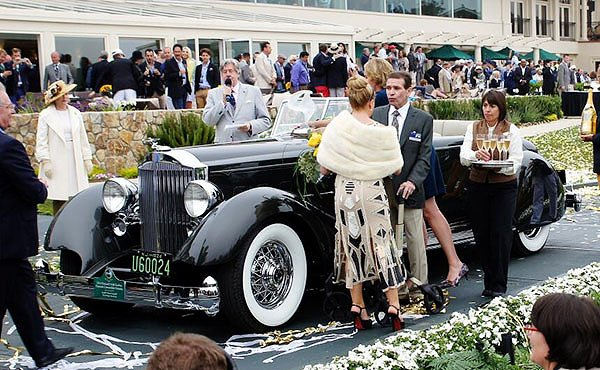 A 1934 Packard Twelve Model 1108 Dietrich Convertible Victoria won Best of Show here at the Pebble Beach Concours D'Elegance. The concours, as always, delivered a discreet amount of regaling as participants sipped champagne and displayed their finest Sunday afternoon attire.