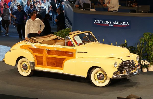 A beautiful 1947 Chevrolet Woody Convertible was sold out of an exclusive collection.