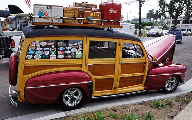 Paul and Judy, a couple from Palmdale, California, are veterans of the Wavecrest Woodie Show. Their 1948 Ford Woodie Wagon is a regular at the event. It has a '64 Ford Galaxie 7-liter Cobra Jet motor.