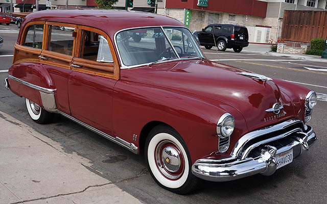 1949 Oldsmobile Futuramic 88 was the last real woodie produced by Oldsmobile. It was also the first one with the V8 engine. The owner said he spent 19 years restoring this car.  It took nine years just to find the wood parts.