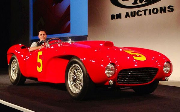 """The action is getting serious at the RM Auction today with this 1953 Ferrari 375 MM Spider drawing a winning bid of $8,250,000. Our photographer Bob Boberg of eClassicAutos.com tweeted that """"things are getting serious here."""""""
