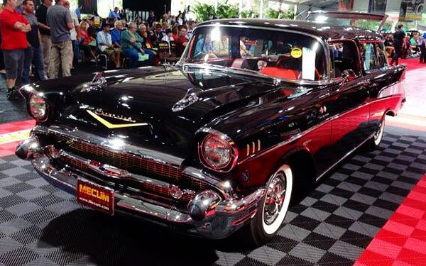 More the norm, here is a desirable black 1957 Chevy Nomad the sold at the Mecum Auction for $92,000. Why so much you ask? This one was a fuelie.