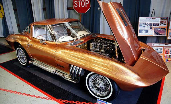 """Speedboat racer Bob Nosrdskog special ordered this 1963 Corvette, without the paint, and then shipped it to prolific customizer, George Barris. Barris' modifications included extending the nose cone, creating custom headers that exited from behind the front wheels, removal of the split window and opened rear wheel wells. It was dubbed """"The Asteroid."""""""