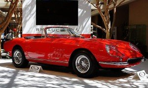 One of the rarest cars to be sold here at the RM Auction was a 1967 Ferrari 275 NART Spider when it crossed the block at $25 million. This sale set a record for Ferrari sports cars. There were only ten of these NART cars built by Ferrari. One was owned by the late actor Steve McQueen, but he crashed the car and it was lost. McQueen tried to buy this one but the owner declined. The family donated all the proceeds of the sale to charity.