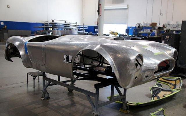 Polished aluminum Shelby Cobra body