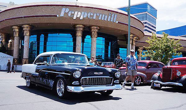 A 1955 Chevy Custom arrives at the Peppermill on Wednesday. Here are some of the top cars we found at the Peppermill.
