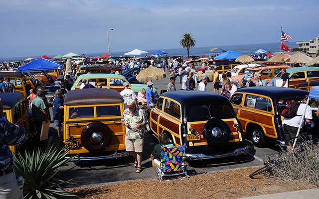 Sea of Woodie Station Wagons
