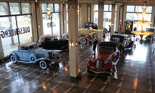 Cord had a Fort Wayne, Indiana architect design his corporate showroom in an art deco style which has been preserved perfectly as part of the Auburn-Cord-Duesenberg museum.