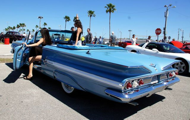 1960 Chevy Impala Convertible captures the feel here at the Daytona Turkey Run Spring 2014