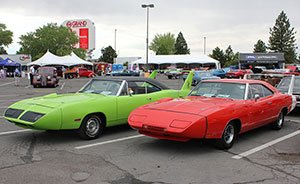 1970 Plymouth Superbird next to a 1969 Dodge Daytona at Hot August Nights