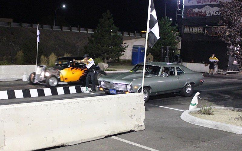 Ford vs nova drag racing at 2014 Hot August Nights