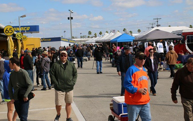 Thousands of parts hunters pack the swap meet area.