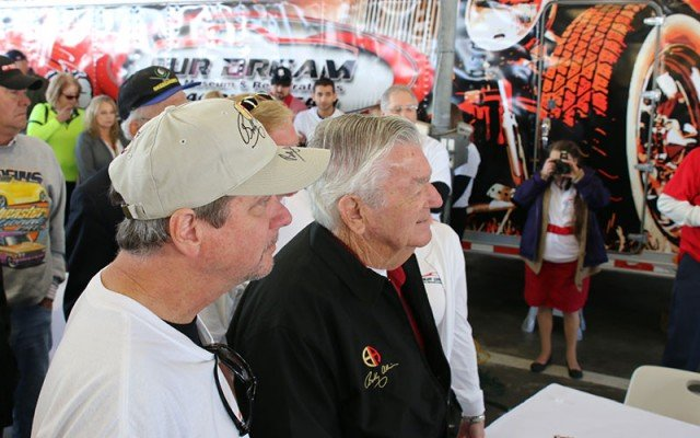Bobby Allison awaiting the unveiling of his 1950 Studebaker R2 Pickup