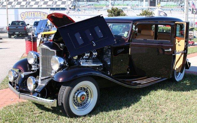 1932 Packard 900 Light 8 Sedan in the show area of the Daytona Turkey Run