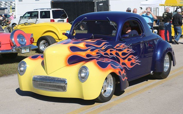 1941 Willys coupe in the Car Corral area at the  Daytona Turkey Run.