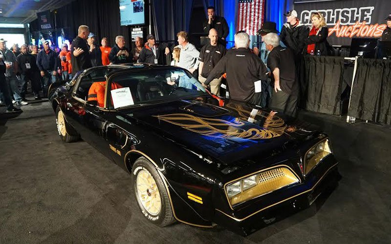 Burt Reynold's personal Bandit Trans Am reproduction was sold at the Carlisle Auction on Friday evening for $170,000.