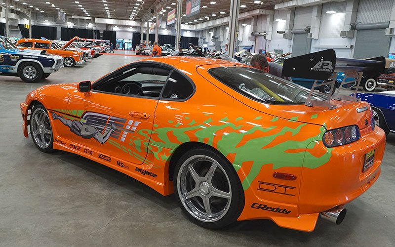 Rear view of Paul Walker 1993 Toyota Supra tuner street racer from the movie Fast and Furious