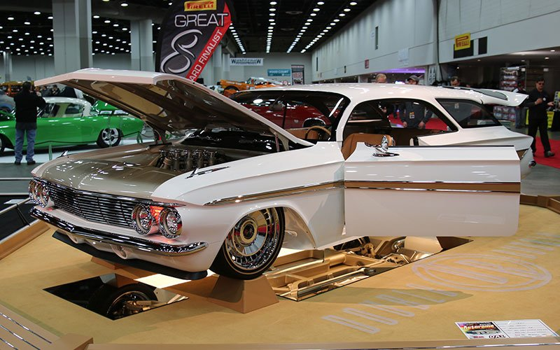 1961 Chevy Impala Double Bubble Great 8 selection is in contention for the Ridler Award here at the 2016 Detroit Autorama.