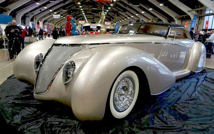"""After Shock"" Rick Dore design 1937 Ford Exotic Classic at 2017 Grand National Roadster Show"