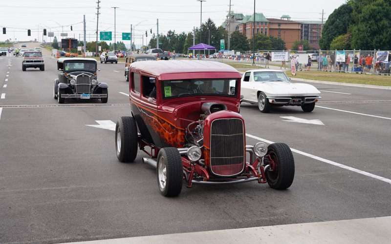 Hot Rods coming into Louisville for the NSRA Street Rod Nationals 2021
